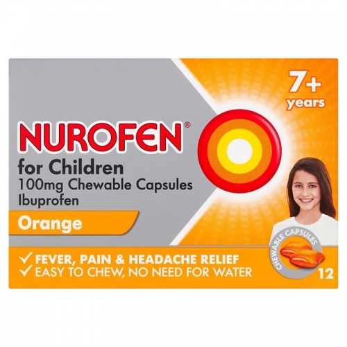 Nurofen for Children 100mg 12 Chewable Capsules Orange  Flavour